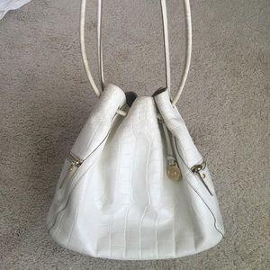 Brahmin Trina bucket bag white croc purse